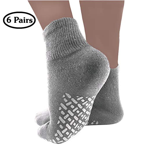 Diabetic Socks Mens Non-slip Grip Cotton 6-Pack Ankle Grey By DEBRA WEITZNER