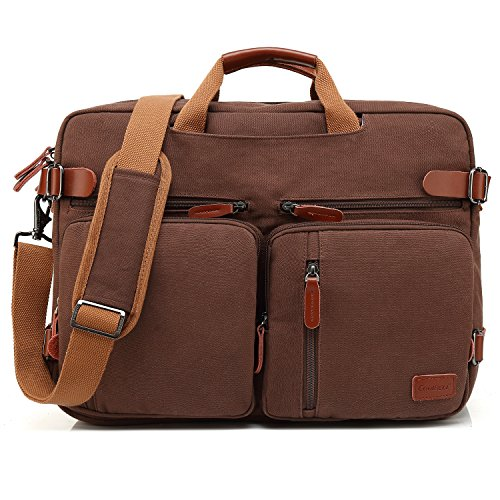 CoolBELL Convertible Backpack Messenger Bag Shoulder bag Laptop Case Handbag Business Briefcase Multi-functional Travel Rucksack Fits 17.3 Inch Laptop For Men / Women (Canvas Dark Coffee)