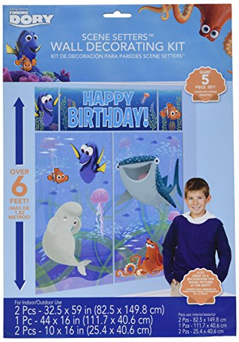 Finding Dory Scene Setter Wall Decorating Kit 5 Piece (Finding Nemo Birthday Party Decorations)