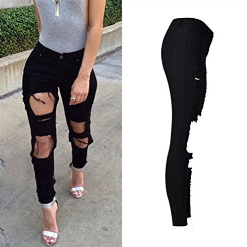Zhhlaixing de calidad superior Popular Irregularity Hole Denim Jeans High Waisted Personality Street Pants for Womens Black Black
