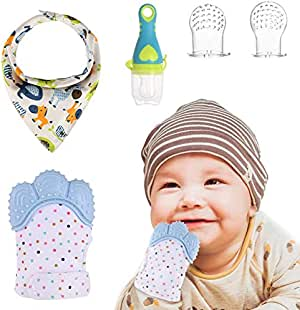Goldge MIni Guante Dentición Bebé +1 Gasas Bebe Algodon Muselina+1 Chupete Fruta +2 Bolsa de silicona,Protege Manos Bebés Regalo Perfecto para Bebés: Amazon.es: Bebé