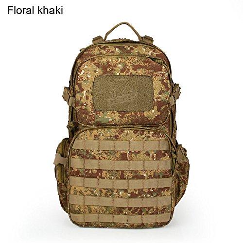 Haikeタクティカル45l 1000d防水ナイロンHuntingバックパックショルダーバッグ B072ZYPN29  Floral Khaki