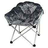 Folding Faux Fur Club Chair - Padded Seats Grey