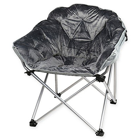 Folding Faux Fur Club Chair - Padded Seats Grey by Generic