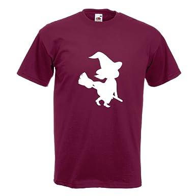 KIWISTAR - Hexe auf Besen Halloween Grusel Horror T-Shirt in 15  verschiedenen Farben -