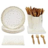 Juvale Gold Foil Party Supplies (Serves 24) Plates, Napkins, Cups, Cutlery - Polka Dots
