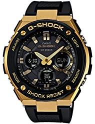 Casio G-Shock G-STEEL Series Solar Powered World Time Analog Digital Gold Black Resin Watch, GSTS100G-1A
