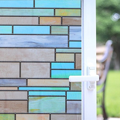 Niviy Privacy Window Covering Brick Stained Glass Window Film Waterproof Static Window Cling, 17.7'' by 78.7'' No Adhesive Glass Window Decor for Bathroom/Kids Room/Sliding Door, 1 Roll by Niviy