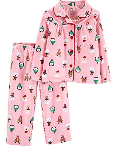 Carter's Girls' Toddler 2-Piece Coat Pajama Set, Pink Santa, ()