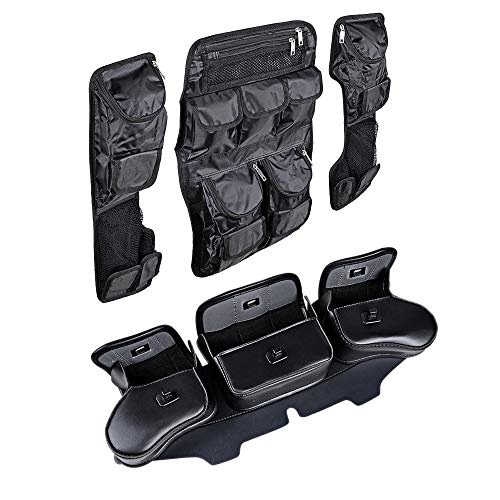Saddlebag Tour Pak Pack Lid Organizer and Windshield Saddle 3 Pouch Three Pocket Fairing Bag Compatible with 1999-2013 Harley Electra Street Glide