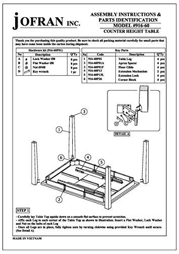 "Jofran 916-60 42"" x 42-60"" x 36"" Light Tobacco Finish Turner's Landing Counter Height Table (Set of 1)"