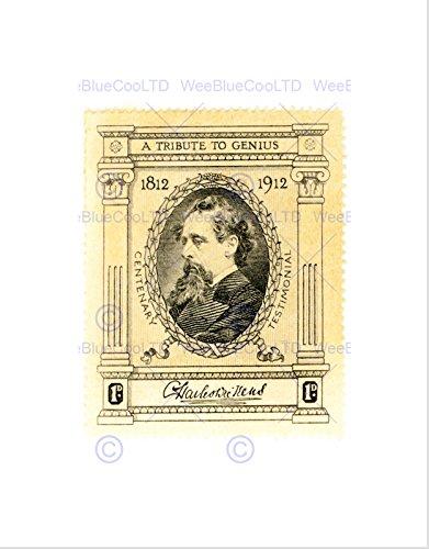 STAMP UK 1 ONE PENNY TRIBUTE GENIUS DICKENS SIGNED ART PRINT B12X10033 -