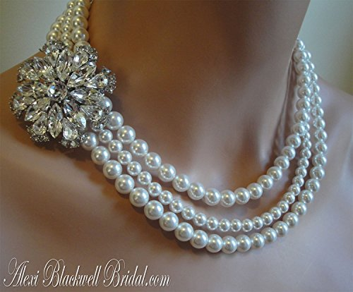 - Pearl Necklace with Brooch and Earrings Set Wedding Jewelry in 3 multi strands Swarovski pearls White or Cream Ivory by Alexi Blackwell Bridal