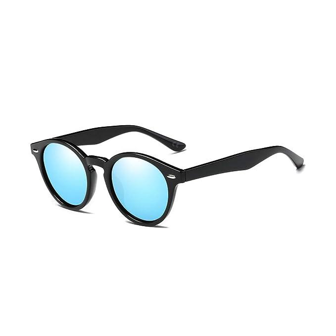 9b0d67ec2b AMZTM Retro Espejo Gafas de Sol Polarizadas Mujer Hombre, Clásico Cuerno  Rimmed Marco con Lentes