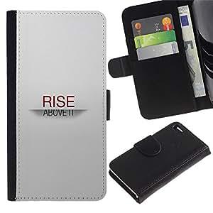 YiPhone /// Tirón de la caja Cartera de cuero con ranuras para tarjetas - SUBIDA SOBRE TI - Apple Iphone 4 / 4S
