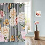 Bathroom Sets with Shower Curtain Uphome Floral Fabric Shower Curtain, Grey and Cream Shabby Chic Rose Flower Cloth Shower Curtain 180 GSM Thick Water Repellent Pastel Spring Penny Bathroom Curtains for Shower with Hooks Set, 72X72
