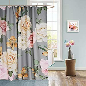 Uphome Floral Fabric Shower Curtain, Grey and Cream Shabby Chic Rose Flower Cloth Shower Curtain 180 GSM Thick Water Repellent Pastel Spring Penny Bathroom Curtains for Shower with Hooks Set, 72X72 5