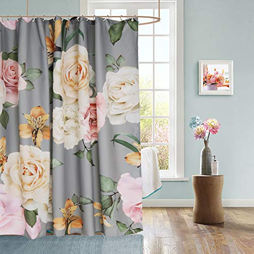 Uphome Floral Fabric Shower Curtain, Grey and Cream Shabby Chic Rose Flower Cloth Shower Curtain 180 GSM Thick Water Repellent Pastel Spring Penny Bathroom Curtains for Shower with Hooks Set, 72X72