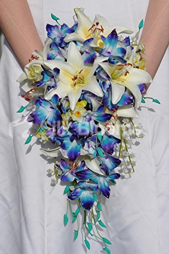 Unique and Bold Blue Dendrobium Fresh Touch Orchids and Daffodil Wedding Bouquet with Oriental Lilies
