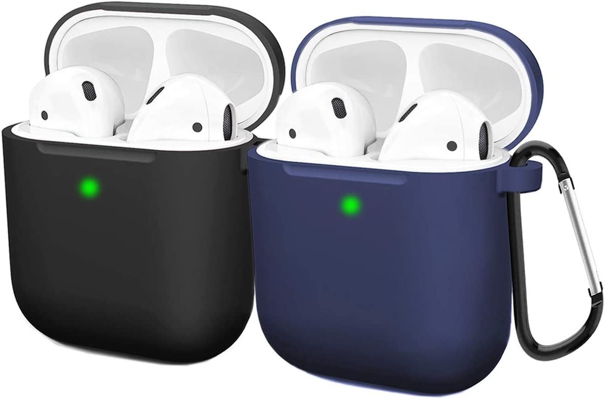 Compatible AirPods Case Cover Silicone Protective Skin for Apple Airpod Case 2&1 (2 Pack) Black/Navy Blue