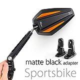 KiWAV Magazi Achilles motorcycle mirrors orange fairing mount w/ matte black adapter for sports bike adjustable e