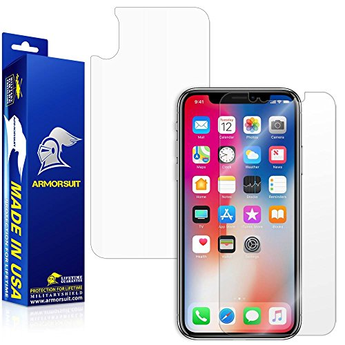 Price comparison product image iPhone X Screen Protector [Case Friendly] + Back Protector, ArmorSuit MilitaryShield Lifetime Replacement Screen Protector For iPhone X - Clear
