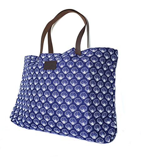 west-indies-cotton-beach-bag-with-leather-handles-tote-carryall-shell-french-blue