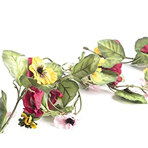 Factory Direct Craft 9 Feet of Raspberry and Yellow Artificial Pansy Garland for Home Decor, Crafting and Designing 116