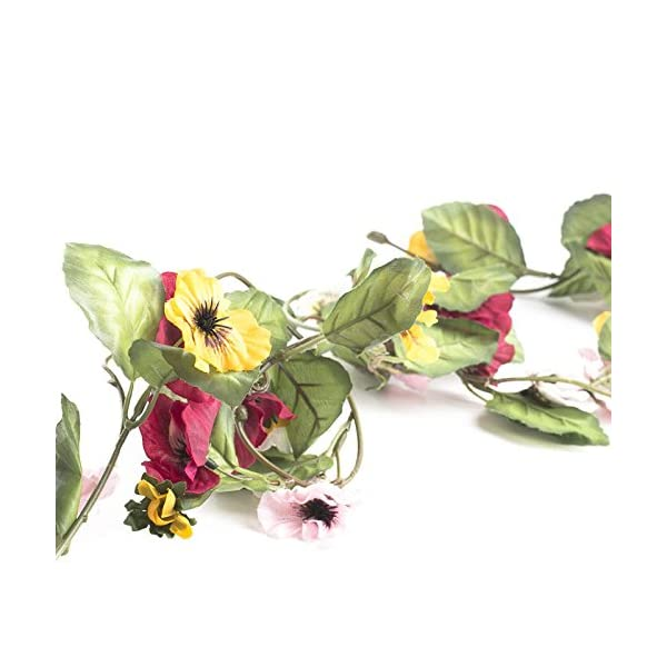 Factory Direct Craft 9 Feet of Raspberry and Yellow Artificial Pansy Garland for Home Decor, Crafting and Designing