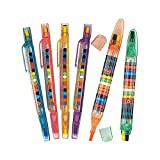 Fun Express Transparent Glitter Stacking Point Crayons (Pack of 12) - Stationery and Crayons Toy