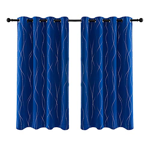 Anjee Eyelet Thermal Insulated Blackout Curtains and Drapes Wave Line with Dots Printed for bedroom living room Children's room Two Matching Tie Backs 46 x 54 inch Dark Blue