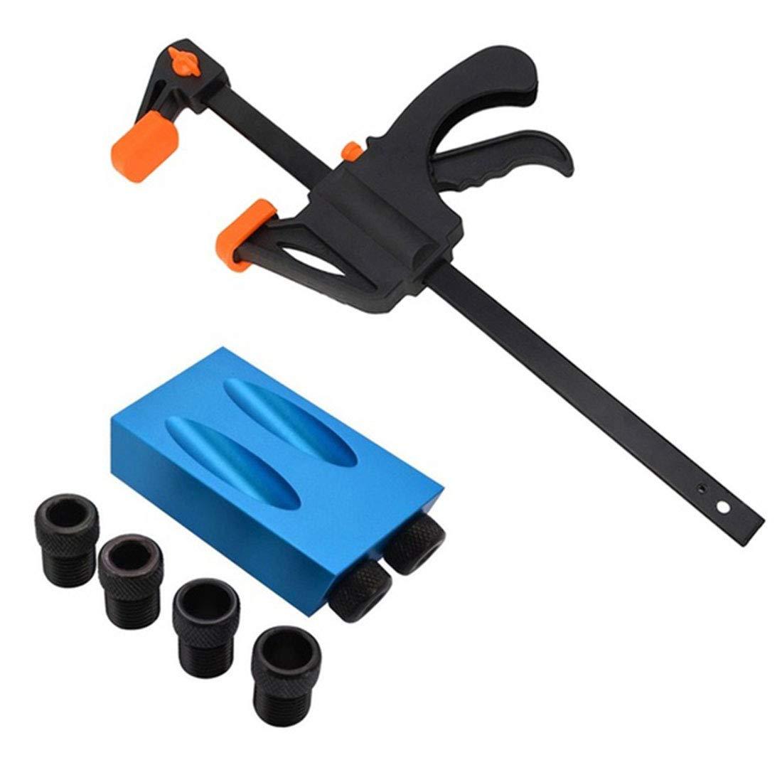 8pcs//Set Kit de gabarit de trous de poche 15/°6//8//10mm Adaptateur Guide de perceuse oblique Perforateur Localisateur DIY Bois Outil