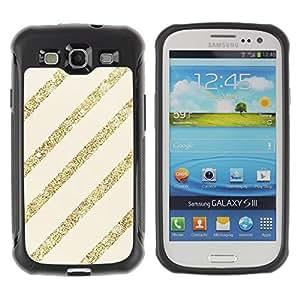 """Pulsar iFace Series Tpu silicona Carcasa Funda Case para Samsung Galaxy S3 III I9300 , Líneas del brillo del oro Beige Parallel Pattern"""""""