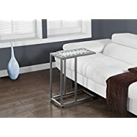 Monarch Specialties Grey/Blue Tile Top/Hammered Silver Metal Accent Table