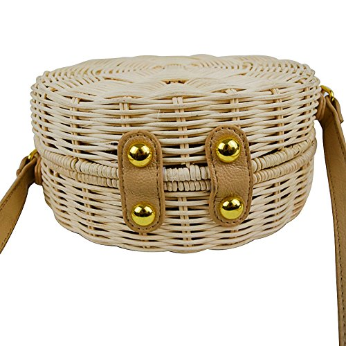 Summer Leisure Beach Rattan Round B Women woven 18cm For Outdoor Fashion Hand Straw Bag WZ8YHxcqf