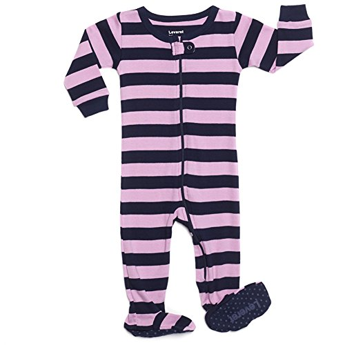 Leveret Kids Striped Baby Girls Footed Pajamas Sleeper 100% Cotton (Size 6-12 Months, Purple & Navy) by Leveret