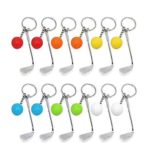 12Pcs Mini Golf Racket Ball Pendant Keychain Key Ring, Creatiee Fashionable Metal Key Clasps Split Keyring Sports Clubs Lovers Birthday Christmas Gift Prize - Exquisite & Lightweight(6 ()