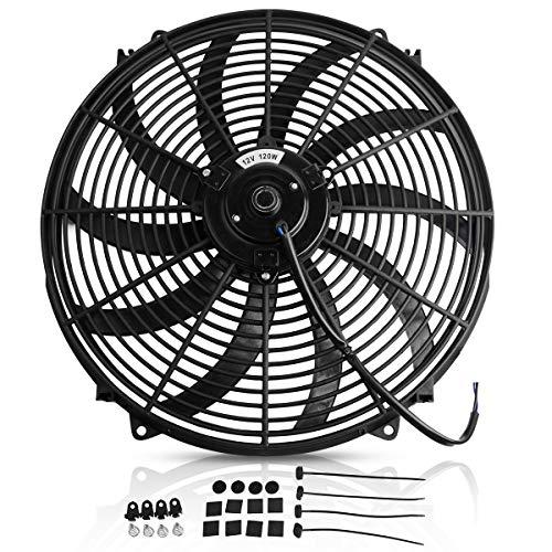 Maxiii 16 Inch Radiator Cooling Fans Universal Black Slim Pull Push Reversible Electric Fan 12V 120W 3000CFM with Mount Kit (Best Slim Radiator Fans)