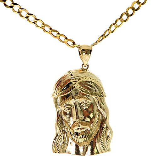Genuine Stamped Authentic 10K Yellow Two Tone Gold Charm Pendant Necklace [Assorted Charms-Chains] (Jesus Piece + 30 inches Cuban)