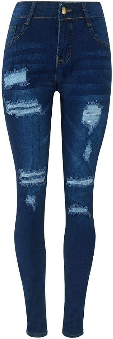 STRIR-Ropa Pantalones Push up Mujer, Pantalones Rotos Largos ...