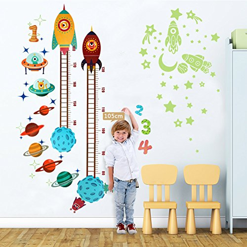 Growth Chart Wall Sticker - OurWarm Planets Rocket Wall Sticker Baby Height Growth Chart + Glow in the Dark Stickers, Growth Chart for Kids Bedroom Nursery Home Decorations