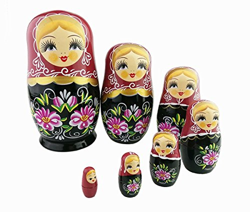 Blonde Girl Game (Cute Red and Black Blonde Little Girl With Pink Flower Handmade Wooden Russian Nesting Dolls Matryoshka Dolls Set 8 Pieces For Kids Toy Christmas Gift Home Decoration)