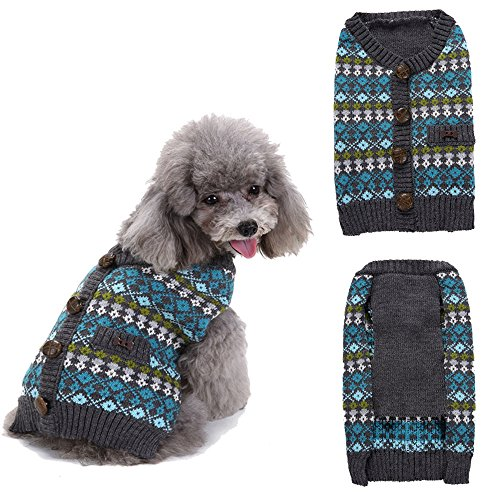 - Glumes Pet Clothes, Puppy England Style Striped Sweater Dog Coat Warm Printed Sweatshirt for Small Dog Medium Dog Or Cat (S, Blue)