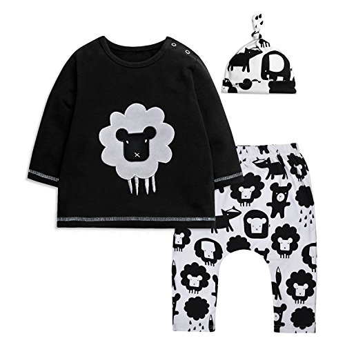 Minilove Baby Boys Clothing Set Long Sleeve Embroidered Tops+Printing Pants+Hat 3PCS Outfit Suit (70, Black)