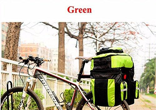 65L Waterproof Cycling Bag Bicycle Rack Bag Long Journey Luggage Mountain Bike Pannier Cycling Bags +Rain Cover (Green) by WenZi (Image #2)