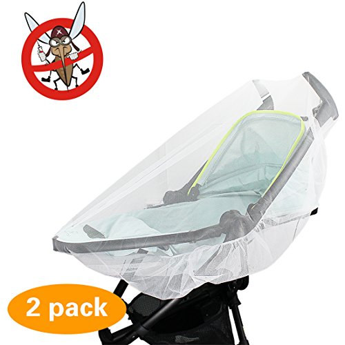 2 Pack Mosquito Net, KOMIWOO Bug Insect Netting for Baby Strollers Bassinets Infant Carriers Car Seats Cover Cradles, (Bassinet Cover)