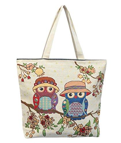 Borsetta borsa da spiaggia, shopping, importata da Tailandia, multicolore, motivi Gufi (42292)