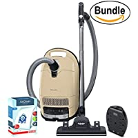 New Miele Complete C3 Alize Canister Vacuum, Ivory White - Corded - ReVIVE Rapid Dual USB 6 Outlet Wall AC Adapter, & 10123210 AirClean 3D Efficiency Dust Bag, Type GN, 4 Bags & 2 Filters (Bundle)