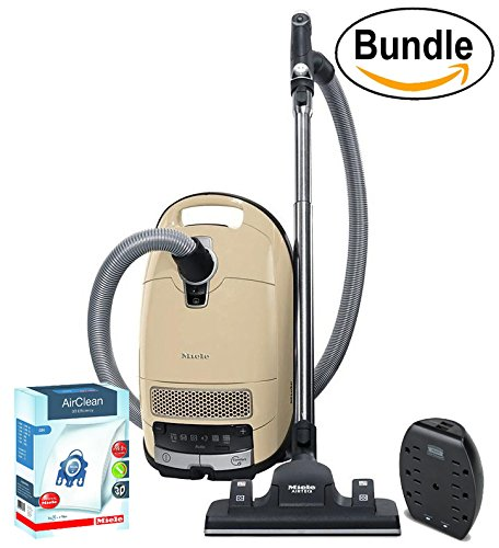New Miele Complete C3 Alize Canister Vacuum, Ivory White – Corded – ReVIVE Rapid Dual USB 6 Outlet Wall AC Adapter, & 10123210 AirClean 3D Efficiency Dust Bag, Type GN, 4 Bags & 2 Filters (Bundle)