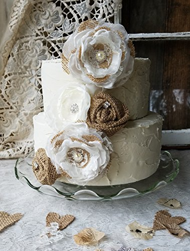 Burlap Cake Flowers, Wedding cake flowers, Burlap Wedding, Fabric Cake Flowers, Rustic Cake Flowers , Cake Topper, Burlap cake Top, 5 flowers